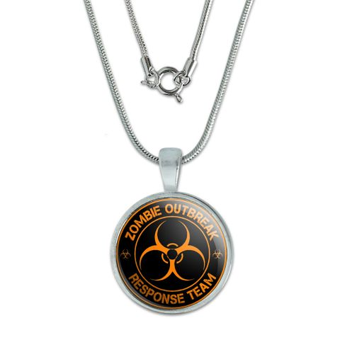 Zombie Outbreak Response Team - Orange Small Pendant