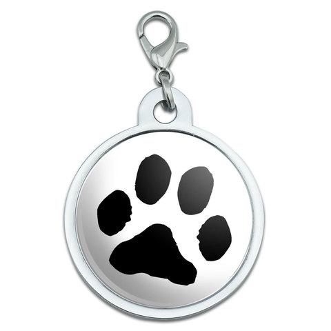 Paw Print Large Metal ID Pet Dog Tag