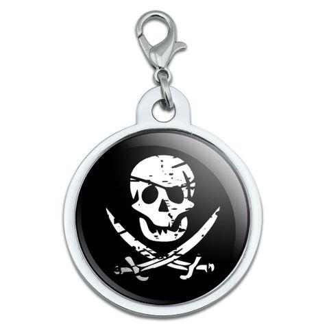 Pirate Skull Crossed Swords Large Metal ID Pet Dog Tag