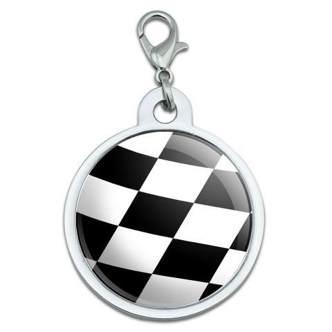 Checkered Flag - Racing Large Metal ID Pet Dog Tag