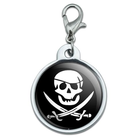 Pirate Skull Crossed Swords - Jolly Roger Small Metal ID Pet Dog Tag