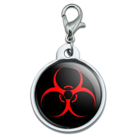 Biohazard Warning Symbol - Zombie Radioactive Small Metal ID Pet Dog Tag