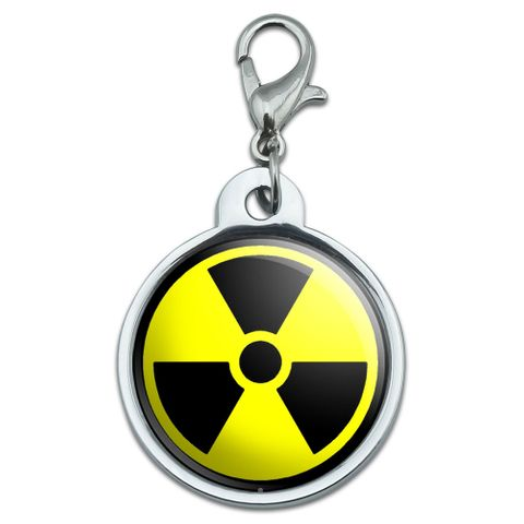 Radioactive Nuclear Warning Symbol Small Metal ID Pet Dog Tag
