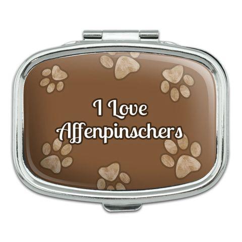 I Love Heart Dogs - Affenpinschers - Rectangle Pill Box