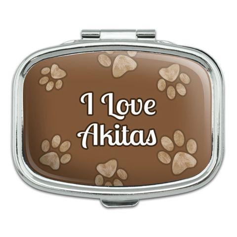 I Love Heart Dogs - Akitas - Rectangle Pill Box