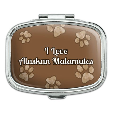 I Love Heart Dogs - Alaskan Malamutes - Rectangle Pill Box