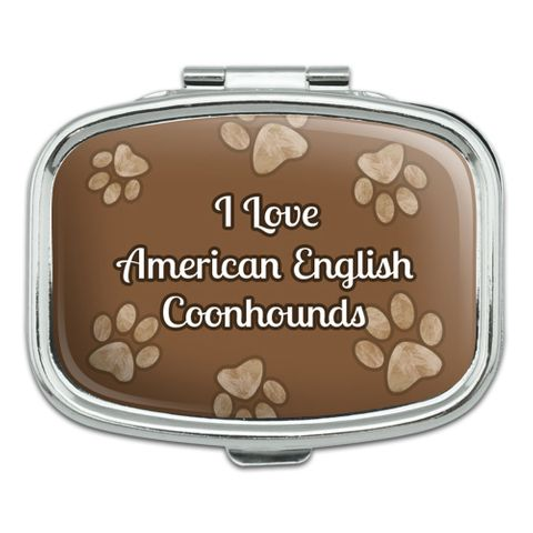 I Love Heart Dogs - American English Coonhounds - Rectangle Pill Box