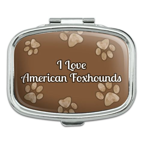 I Love Heart Dogs - American Foxhounds - Rectangle Pill Box