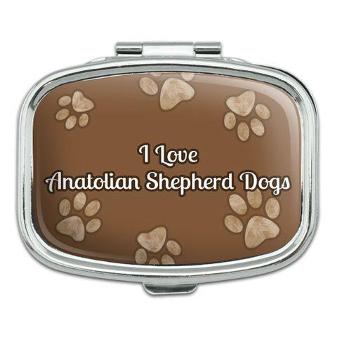 I Love Heart Dogs - Anatolian Shepherd Dogs - Rectangle Pill Box