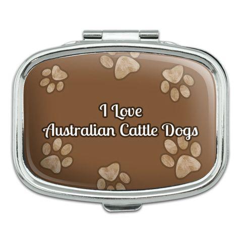 I Love Heart Dogs - Australian Cattle Dogs - Rectangle Pill Box