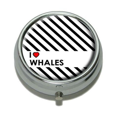 I Love Heart Whales Pill Box