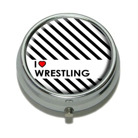 I Love Heart Wrestling Pill Box