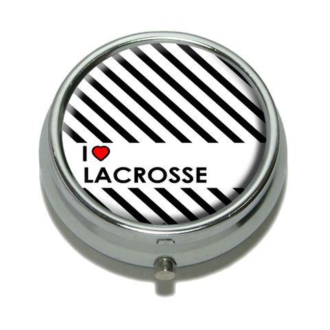 I Love Heart Lacrosse Pill Box