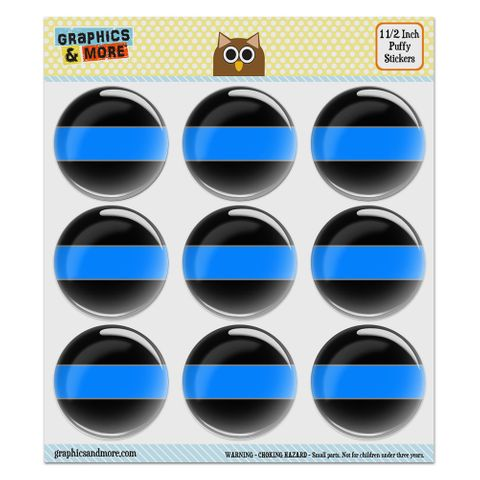 """Thin Blue Line Puffy Bubble Dome Scrapbooking Crafting Stickers - Set of 9 - 1.5"""" (38mm) Diameter Each"""