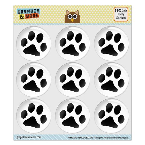 """Paw Print Pet Dog Cat Puffy Bubble Dome Scrapbooking Crafting Stickers - Set of 9 - 1.5"""" (38mm) Diameter Each"""