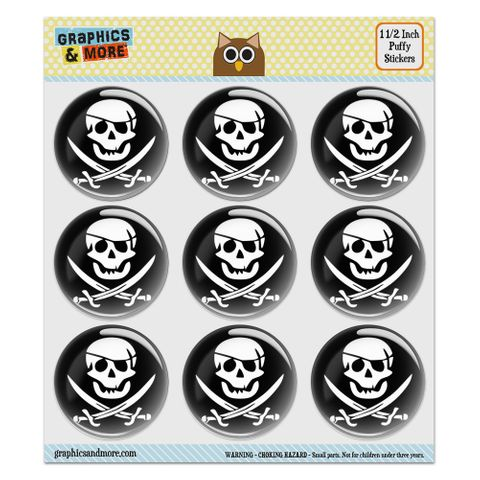 """Pirate Skull Crossed Swords Jolly Roger Puffy Bubble Dome Scrapbooking Crafting Stickers - Set of 9 - 1.5"""" (38mm) Diameter Each"""