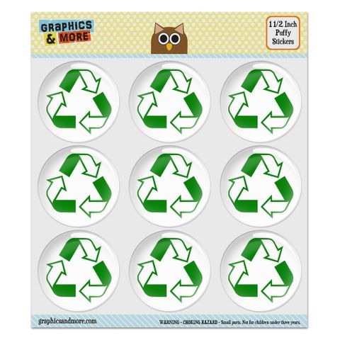 """Recycle Reuse Conservation Hybrid Puffy Bubble Dome Scrapbooking Crafting Stickers - Set of 9 - 1.5"""" (38mm) Diameter Each"""