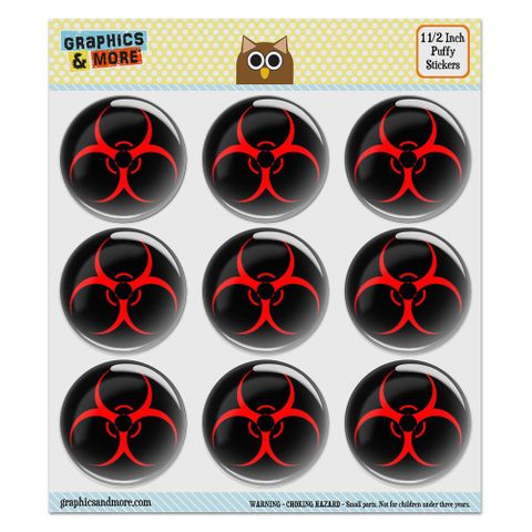 """Biohazard Warning Symbol Zombie Radioactive Puffy Bubble Dome Scrapbooking Crafting Stickers - Set of 9 - 1.5"""" (38mm) Diameter Each"""