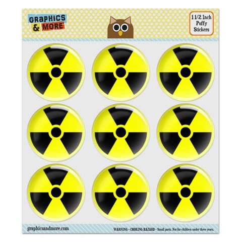 """Radioactive Nuclear Warning Symbol Puffy Bubble Dome Scrapbooking Crafting Stickers - Set of 9 - 1.5"""" (38mm) Diameter Each"""