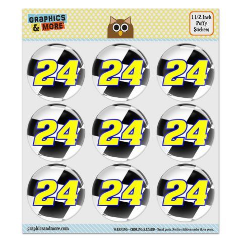 """Number 24 Checkered Flag Racing Puffy Bubble Dome Scrapbooking Crafting Stickers - Set of 9 - 1.5"""" (38mm) Diameter Each"""