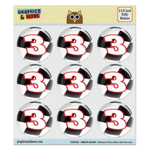 """Number 3 Checkered Flag Racing Puffy Bubble Dome Scrapbooking Crafting Stickers - Set of 9 - 1.5"""" (38mm) Diameter Each"""