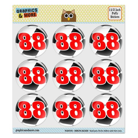 """Number 88 Checkered Flag Racing Puffy Bubble Dome Scrapbooking Crafting Stickers - Set of 9 - 1.5"""" (38mm) Diameter Each"""