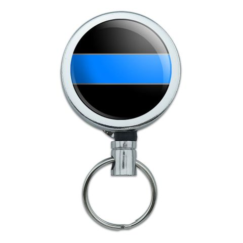 Thin Blue Line Retractable Belt Clip Badge Key Holder