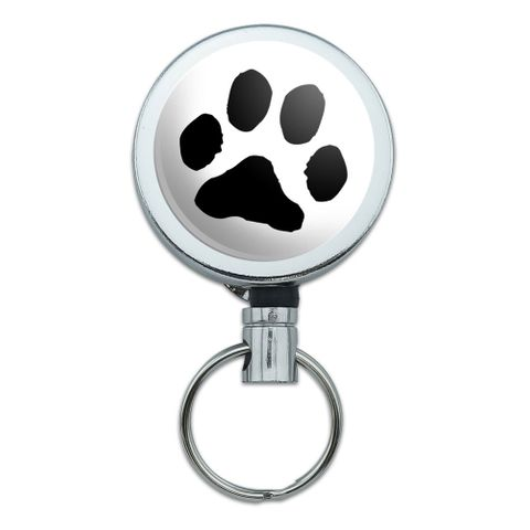 Paw Print Pet Dog Cat Retractable Belt Clip Badge Key Holder