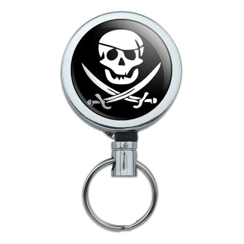 Pirate Skull Crossed Swords Jolly Roger Retractable Belt Clip Badge Key Holder