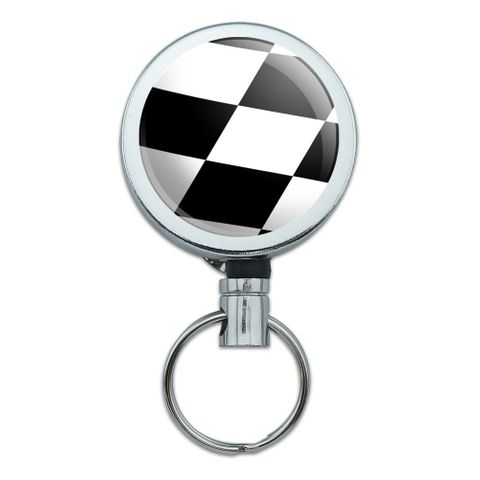 Checkered Flag Racing Retractable Belt Clip Badge Key Holder