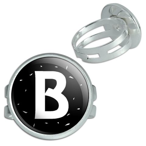 Letter B Initial Black And White Silver Plated Adjustable Novelty Ring
