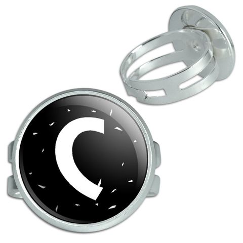 Letter C Initial Black And White Silver Plated Adjustable Novelty Ring