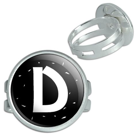 Letter D Initial Black And White Silver Plated Adjustable Novelty Ring