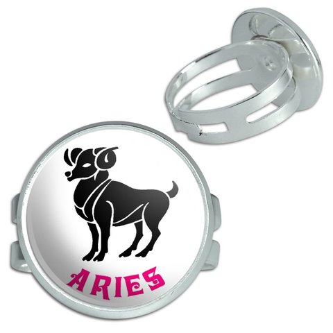 Aries Ram Zodiac Horoscope Silver Plated Adjustable Novelty Ring