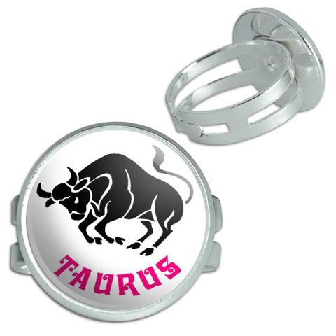 Taurus The Bull Zodiac Horoscope Silver Plated Adjustable Novelty Ring