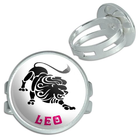 Leo The Lion Zodiac Horoscope Silver Plated Adjustable Novelty Ring