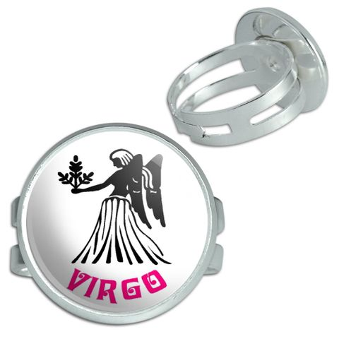 Virgo The Maiden Zodiac Horoscope Silver Plated Adjustable Novelty Ring