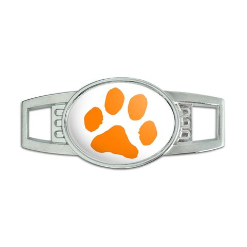 Paw Print - Orange on White Oval Slide Shoe Charm
