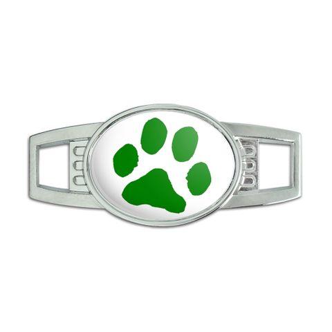 Paw Print - Green on White Oval Slide Shoe Charm