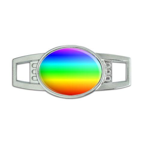 Rainbow Oval Slide Shoe Charm