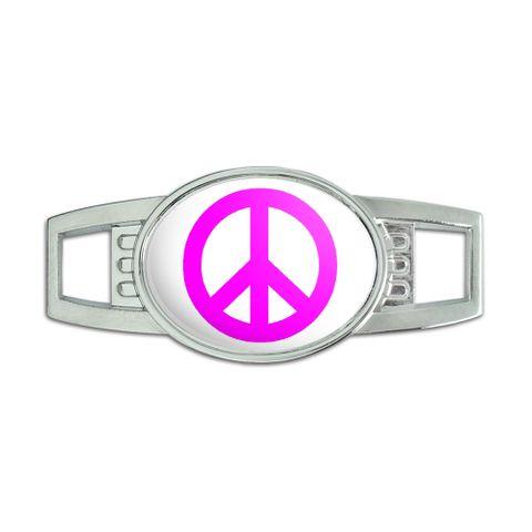 Peace Sign Pink Oval Slide Shoe Charm - No. 1