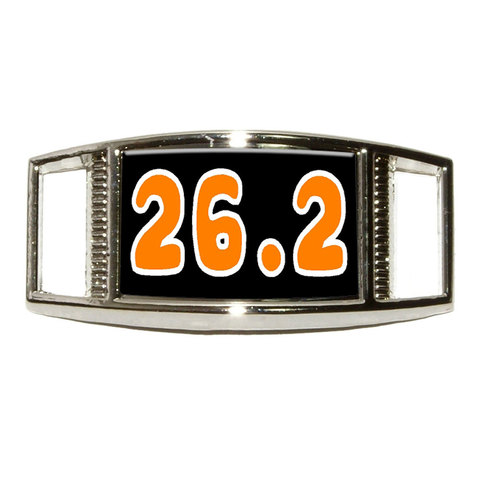 26.2 black orange - marathon running Rectangle Shoe Charm
