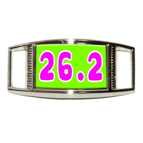 26.2 green pink - marathon running Rectangle Shoe Charm