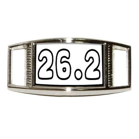26.2 black white - marathon running Rectangle Shoe Charm