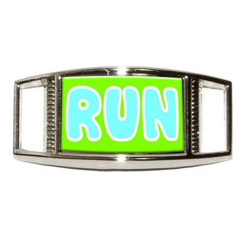 Run Blue Green - Marathon Running Rectangle Shoe Charm