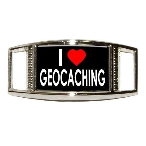 I Love Heart Geocaching Rectangle Shoe Charm