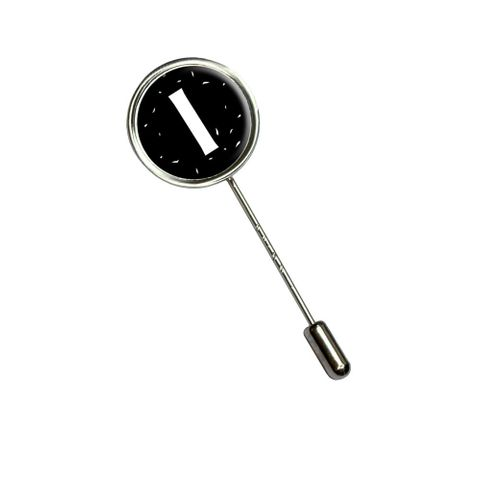 Letter I Initial Black and White Stick Pin