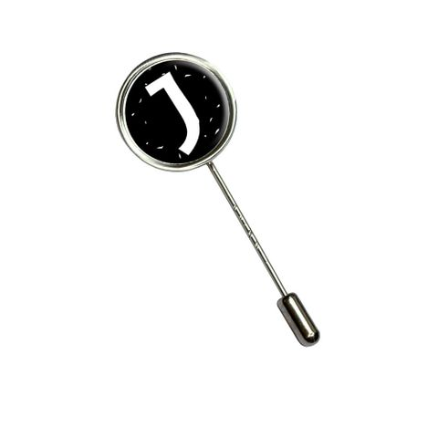 Letter J Initial Black and White Stick Pin