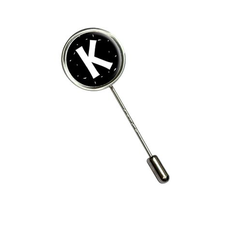 Letter K Initial Black and White Stick Pin