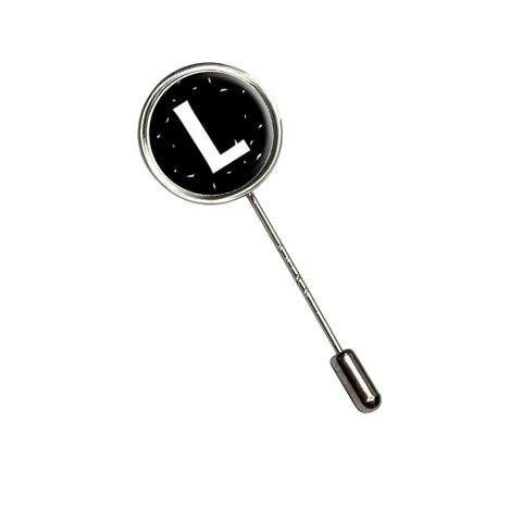 Letter L Initial Black and White Stick Pin